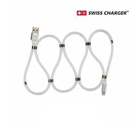 Swıss Charger SCC-10086 iPhone Manyetik Hızlı Şarj ve Data Kablosu ( Düğümlenmeyi önleyen tasarım,  Yüksek kaliteli ve ultra esnek materyal )