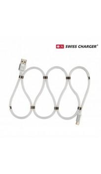 Swıss Charger SCC-10087 Type-c Manyetik Hızlı Şarj ve Data Kablosu ( Düğümlenmeyi önleyen tasarım,  Yüksek kaliteli ve ultra esnek materyal )