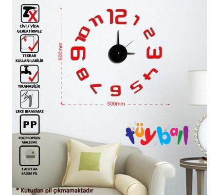 Tüyball Kırmızı Sticker Duvar Saati