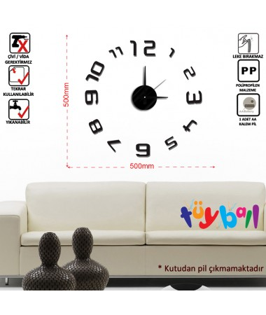 ( TÜKENDİ! ) Tüyball Siyah Sticker Duvar Saati