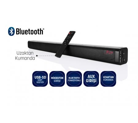 ( TÜKENDİ! ) Bluetooth Sound Bar - Optik Giriş Özelliği ile Yüksek Kalite Dijital Ses İletimi! ( Bluetooth Hoparlör / Mikrofon Girişi / SD Kart Girişi / TV ve Tablet/Telefon Bağlantısı!  )