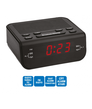 Dijital Saat - Çift Alarm / Radyo / Kablolu ( TÜKENMEK ÜZERE! )  ( Alarmlı Saatimiz Yanı Başımızda! )