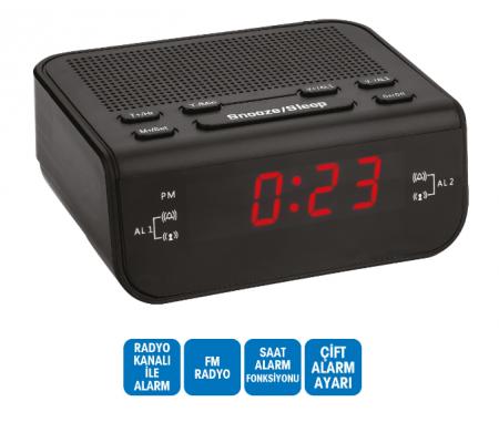 ( TÜKENDİ! ) Dijital Saat - Çift Alarm / Radyo / Kablolu ( Alarmlı Saatimiz Yanı Başımızda! )