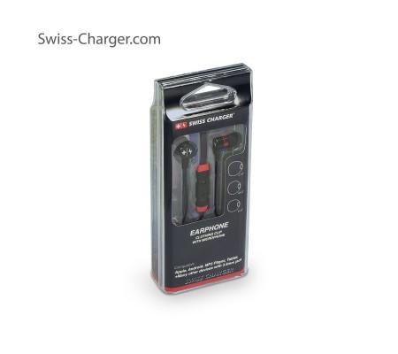 Swiss Charger Su Geçirmez ve Ultra Dayanıklı Kulaklık! ( Siyah ) ( İsviçre Swiss Kalitesi İle Tanışın! Dışarıya En Ufak Ses Vermeden Müziklerinizi Dinleyin! )