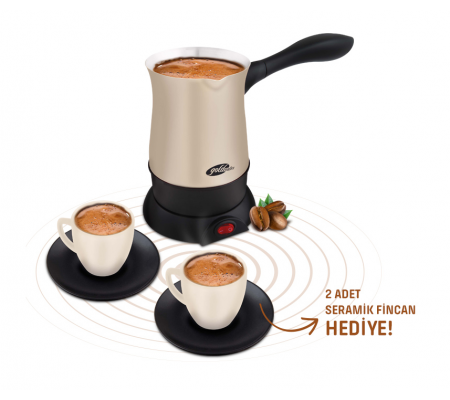 ( TÜKENDİ! ) GM-7381 Hoş Sohbet Türk Kahvesi Seti ile Kahve Saatiniz Daha Lezzetli! ( 2 Adet Seramik Fincan Hediye! Tek Seferde Hızlı, Lezzetli 5 Fincan Bol Köpüklü Kahveniz Hazir )