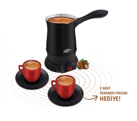 ( TÜKENDİ! ) GM-7385 Hoş Sohbet Türk Kahvesi Seti ile Kahve Saatiniz Daha Lezzetli! ( 2 Adet Seramik Fincan Hediye! Tek Seferde Hızlı, Lezzetli 5 Fincan Bol Köpüklü Kahveniz Hazir )