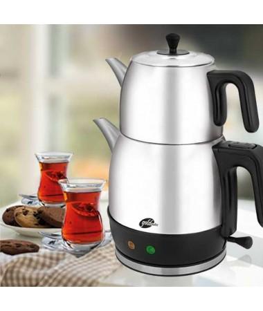 GM 7340 Demlika XL Çelik Çay Makinesi - Inox ( Türkiye'nin En Büyük Çay Makinesi, Çay Sevenlerin Favorisi Demlika X-Large )