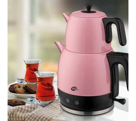 GM 7340 Demlika XL Çelik Çay Makinesi - Pembe ( Türkiye'nin En Büyük Çay Makinesi, Çay Sevenlerin Favorisi Demlika X-Large )
