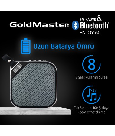 Enjoy-60 Yeni Seri / Geliştirilmiş Model / Bluetooth Hoparlör & Mp3 Oynatıcı  / Radyo - Tüm Cihazlar ile Uyumlu! Telefon ile görüşebilme / Müzik Dinleyebilme ( Siyah )