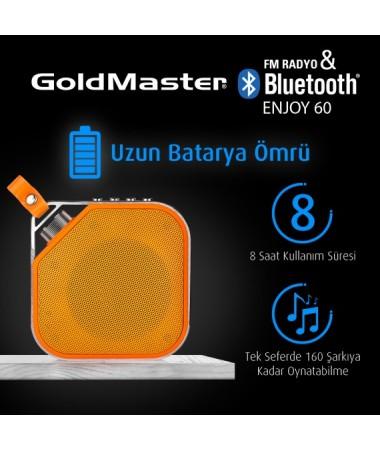 Enjoy-60 Yeni Seri / Geliştirilmiş Model / Bluetooth Hoparlör & Mp3 Oynatıcı / Radyo - Tüm Cihazlar ile Uyumlu! Telefon ile görüşebilme / Müzik Dinleyebilme ( Sarı )
