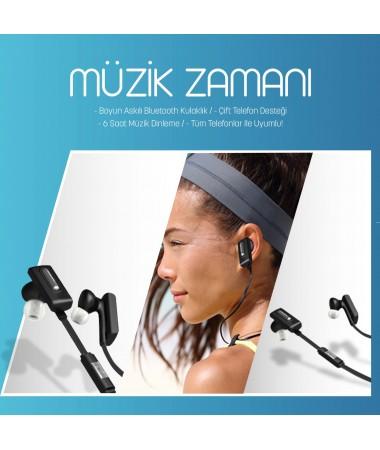 Boyun Askılı Bluetooth Kulaklık - ( Çift Telefon Desteği - 3,5 Saat Müzik Dinleme / Tüm Cihazlar ile Uyumlu! )