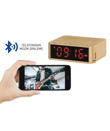 SON 100 Adet - Home Time Mini Bluetooth Hoparlör ve Dijital Saat - Yeni Seri / Yeni Teknoloji! Müzik Dinleyebilme, Telefon ile Konuşabilme - 6 Fonksiyon Bir Arada! ( Gold )
