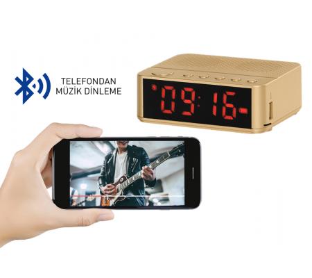 SON 400 Adet ( TÜKENMEK ÜZERE! ) - Home Time Mini Bluetooth Hoparlör ve Dijital Saat - Yeni Seri / Yeni Teknoloji! Müzik Dinleyebilme, Telefon ile Konuşabilme - 6 Fonksiyon Bir Arada! ( Gold )