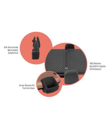( YENİ! ) PT-3239S ProToaster Izgara ve Tost Makinesi ( Teflon Plaka, Yapışmaz, 180 Derece Açılabilir Tasarım Ile Izgara Fonksiyonu )