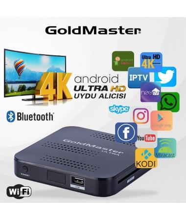 Goldmaster Ultra HD 4K Uydu Alıcısı ( 4K UHD Gerçek Donanım Desteği - Akıllı Klavye Kumanda ile Sesli Arama Özelliği ve Air Mouse )