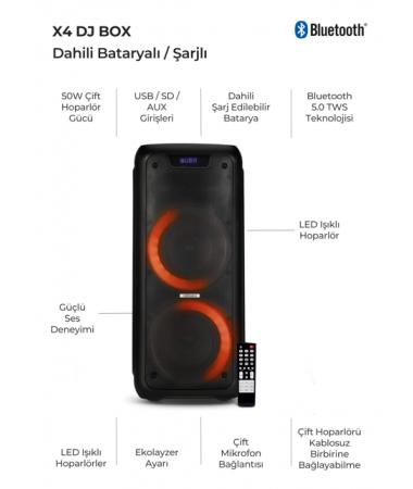 X4 Dahili Bluetooth/Kablosuz Party Box ( 6 Saate Kadar Kablosuz Müzik Keyfi! , Özel Dizayn Uzaktan Kumanda & Değişen renkli Led Işıklar  )