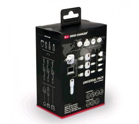 Swisscharger Universal Pack Seyahat Seti Sch 10002 ( Bilinen tüm telefon & tablet markalarına uyumlu )