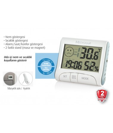 Med-60079 Oda İçi Termometre ( Bebek Odaları için Uygun - Nem göstergesi / Sıcaklık göstergesi )