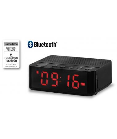 ( TÜKENDİ! ) SON 400 ADET -  Home Time Mini Bluetooth Hoparlör ve Dijital Saat - Müzik Dinleyebilme, Telefon ile Konuşabilme - 6 Fonksiyon Bir Arada! ( Siyah )