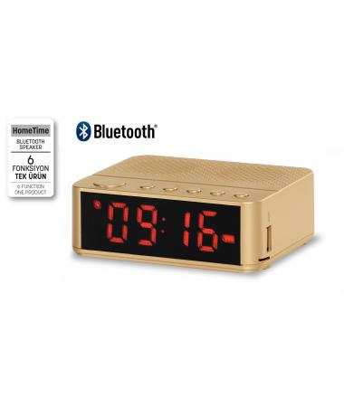 ( TÜKENDİ! ) - Home Time Mini Bluetooth Hoparlör ve Dijital Saat - Yeni Seri / Yeni Teknoloji! Müzik Dinleyebilme, Telefon ile Konuşabilme - 6 Fonksiyon Bir Arada! ( Gold )