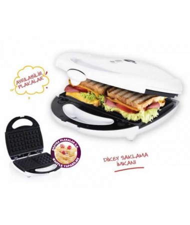 Gm-7427 Enfes Mini Tost Makinesi - Waffle Plakalı! Çifte Lezzet Bir Arada!