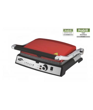 PT-3203  Progrill Izgara ve Tost Makinesi ( Kırmızı ) ( Yeni Seri - Yeni Teknoloji - 180 Derece açılabilir tasarım ile IZGARA fonksiyonu )