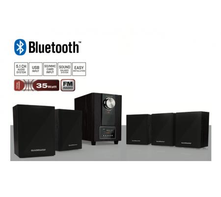 ( TÜKENDİ! ) HOME61 Bluetooth 5+1 Mini Özel Hoparlör Seti ( Yeni Seri & Yeni Teknoloji ! Gerçekçi bass efekti için ahşap kabinli subwoofer )