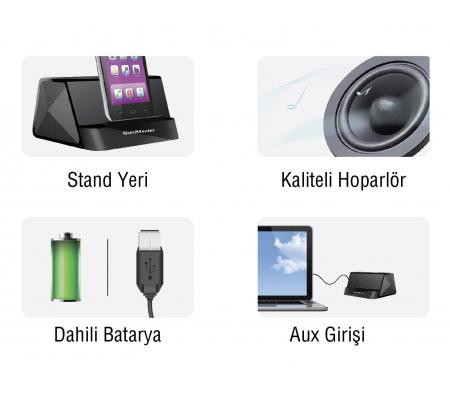 I-desk Mini Taşınabilir Hoparlörlü Kablolu Stand - Videolarınızı İzlerken, Müzik Dinlerken En Büyük Yardımcınız! Tüm Telefon ve Tabletler ile Uyumlu!  ( Beyaz )