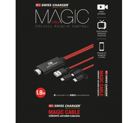 Magic Cable Premium İsviçre Özel Seri -  Video Görüntü Aktarım Kablosu (  Tüm telefon ve tabletler ile uyumlu - Dilediğiniz Ekrana Üst Kalitede Yansıtın! )