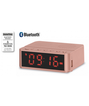 ( TÜKENDİ! ) -  Home Time Mini Bluetooth Hoparlör ve Dijital Saat - Yeni Seri / Yeni Teknoloji! Müzik Dinleyebilme, Telefon ile Konuşabilme - 6 Fonksiyon Bir Arada! ( Pembe )