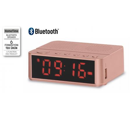 ( TÜKENDİ! ) Home Time Mini Bluetooth Hoparlör ve Dijital Saat - Müzik Dinleyebilme, Telefon ile Konuşabilme - 6 Fonksiyon Bir Arada! ( Somon Rengi )