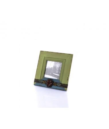Ahd-1267-Yeşil-Mavi Çiçekli Çerçeve 24*24