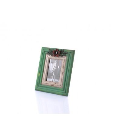 Ahd-1270-Yeşil-Beyaz Çiçek Detaylı Masa Çerçevesi 28*23