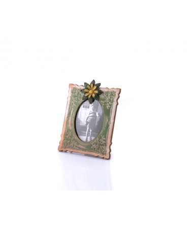 Ahd-1271-Yeşil-Sarı Çiçek Detaylı Masa Çerçevesi 29*21