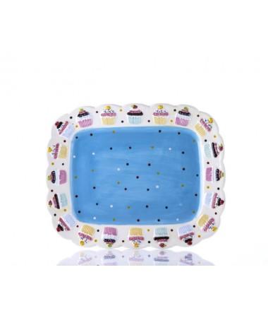 M53-101-Puantiyeli Mavi Cupcake Tabak