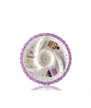M53-102-4 Bölmeli Puantiyeli Pembe Cupcake Tabak