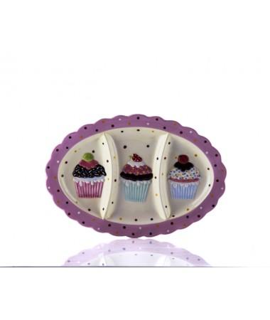 M53-106-3 Bölmeli Puantiyeli Pembe Cupcake Tabak