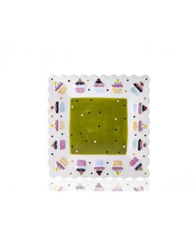M53-108-Puantiyeli Yeşil Cupcake Kare Tabak