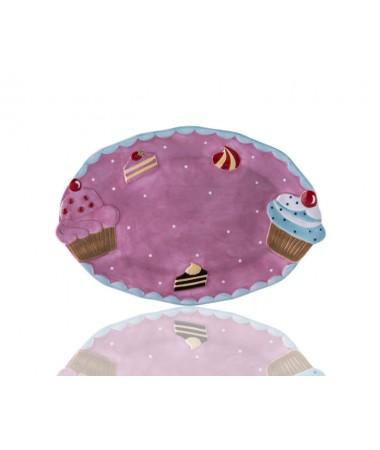 M53-117-Puantiyeli Pembe Cupcake Kayık Tabak