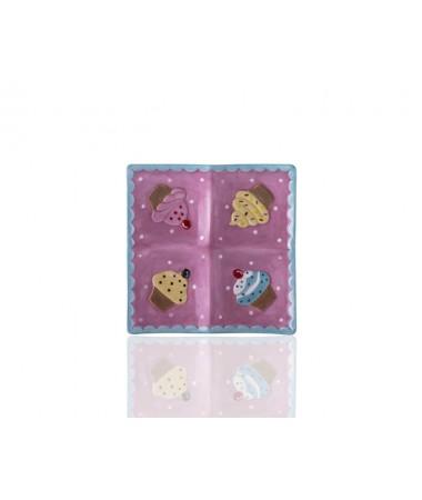 M53-121-Puantiyeli Pembe 4 Bölmeli Cupcake Küçük Tabak