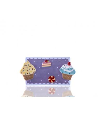 M53-122-Puantiyeli Mor Cupcake Küçük Tabak