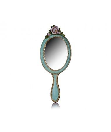 M58-150-Çiçekli Yeşil El Aynası 44*19