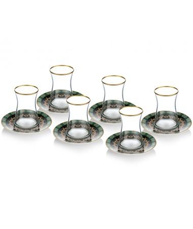 PR08-1023 - İtalyan Tasarım Yeşil Tabaklı Heybeli Çay Takımı