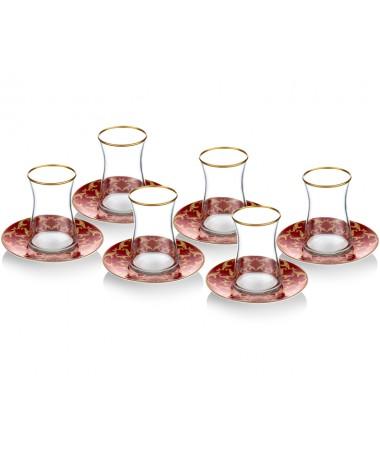 PR08-1024 - İtalyan Tasarım Kırmızı Tabaklı Heybeli Çay Takımı