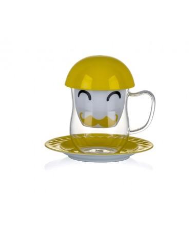 Pr17-1002-Sarı Yüz Desenli Süzgeçli Kupa