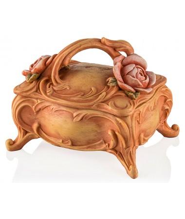 Pr30-1024-Çiçekli Somon Rengi Mücevher Kutusu 15*12