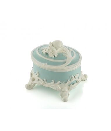 Pr30-1103-Mavi Renk Beyaz Güllü Mücevher Kutusu 11*11