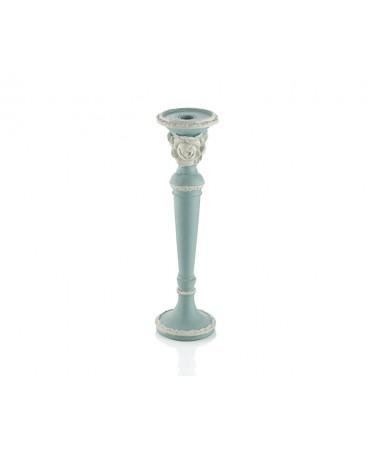 Pr30-1104-Mavi Renk Beyaz Güllü Küçük Boy Mumluk 31*10