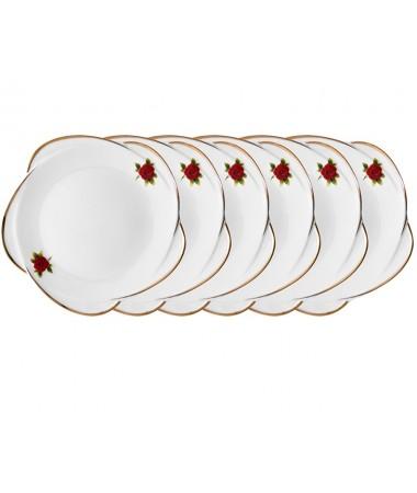 Pr61-1037-Kırmızı Güllü 6Lı Pasta Tabağı 21Cm