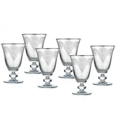Pr86-1010-Jasmın Sade Platin Kısa Ayaklı Kırmızı Şarap Kadeh